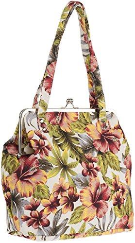 Küstenluder Damen Tasche Maile Tiki Hawaii Kisslock Bag Mehrfarbig Cremeweiß mit Blüten