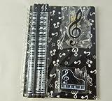 Musique papeterie orientée Notebook Set - A5 Noir notes musicales Carnet à spirale Bound, Piano Eraser, Treble Clef clip et 4 Notes de musique Crayons