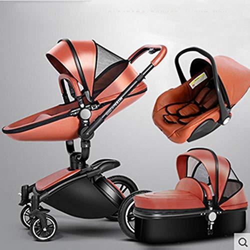 HIZH Passeggino 3 in 1 con Car Seat Alta Landscope Pieghevole Carrozzina per Bambino da 0-3 Anni Carrozzine per Neonati, 3 in 1