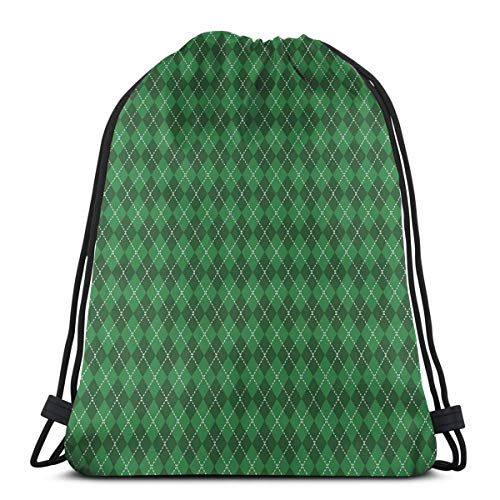 WTZYXS Drawstring Sack Backpacks Bags,St. Patricks Day Celebration Inspired Vintage Pattern Argyle Tartan Dots,Adjustable,5 Liter Capacity,Adjustable. - Argyle Messenger