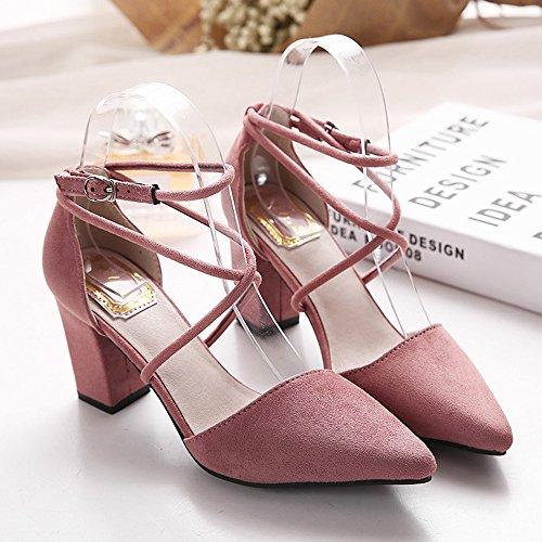 Minetom Femmes Chaussures À Bout Pointu Nubuck Cross Bride De Cheville Sandales Avec Chunky Talon pink