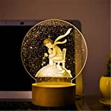 YUE-Veilleuse Lune Planète Veilleuse de Nuit 3D Lampe LED table Cadeau créatif Décoration Maison (Petit prince)
