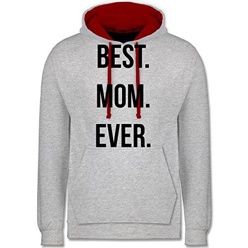Muttertag - Best Mom Ever - Kontrast Hoodie Grau Meliert/Rot