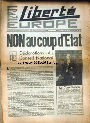 FRANCE EUROPE LIBERTE [No 3] du 01/10/1962 - NON AU COUP D'ETAT - DECLARATIONS DU CONSEIL NATIONAL DE P.L.E. - LA CONSTITUTION.