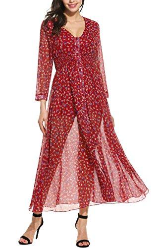 Zeagoo Sommerkleid Damen Lange Maxikleid Strandkleid Langarm Elegantes Kleid V-Ausschnitt Chiffonkleid Partykleid Rot