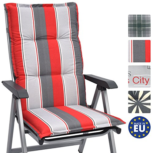 Beautissu High Back Chair Cushion Loft HL 120 x 50 x 6 cm Recliner Garden Chair Pad with Soft Foam Core Design Havana