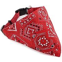 honeysuck mascota perro bufanda cuello ajustable bandana collar rojo