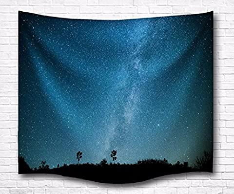 A.Monamour Night Fields Blue Starry Sky Stars Print Bedroom Living Room Dorm Wall Hanging Tapestry