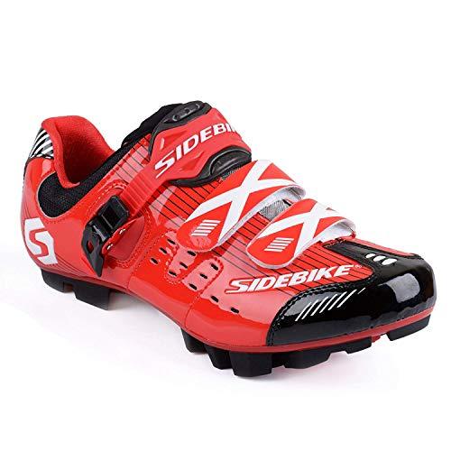Herren/ Mann Professionelle MTB Mountainbike Fahrrad schuhe Radsportschuhe EU Größe 43 Ft 27cm Rot/Schwarz (Wählen Sie eine Größe mehr als üblich) -