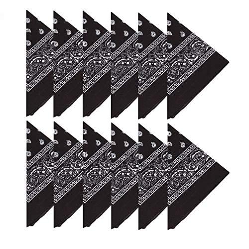BOOLAVARD 100% Baumwolle, 1er 6er, oder 12er Pack Bandanas mit original Paisley Muster | Farbe nach Wahl Headwear / Haar Schal Ansatz Handgelenk Verpackungs Band Kopf Bindung (Schwarz, Rot, Blau, Weiß, etc.) (12er Schwarz)