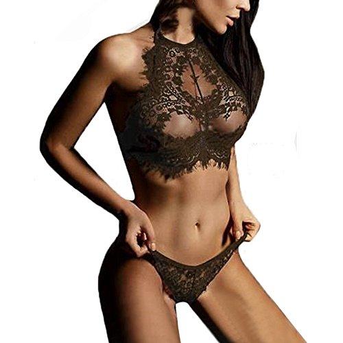 Strung Frau Sexy Dessous Spitze Blumen Hochdrücken Oberteile BH und Hose Unterwäsche Set Spitze Babydoll Nachtwäsche Unterwäsche Reizvolle Transparent Erotik lingerie Set