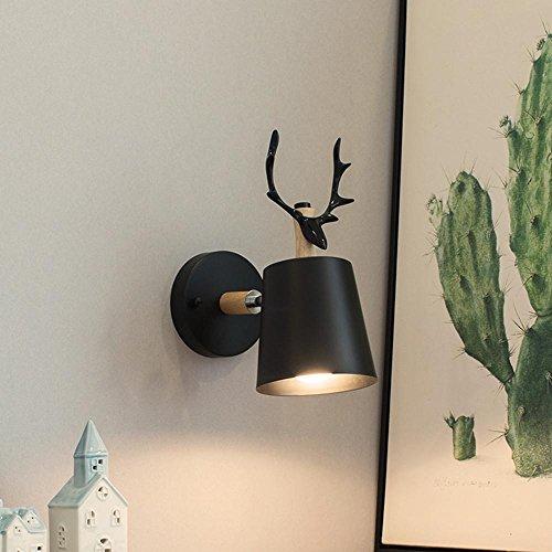 Geweih Hirsch Kopf Wand Lampe LED einfache moderne minimalistische Holz Wohnzimmer Dekoration Lichter Gang Balkon Lampen 40W Wand Beleuchtung E27 Birne Breite 13 cm * Höhe 28 cm , A (Hirsche China)