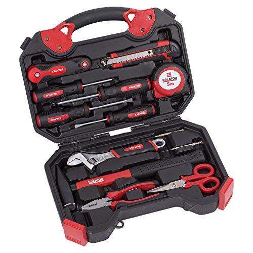 KREATOR Werkzeug-Set 20-tlg Werkzeugkoffer Werkzeugkiste - Hammer Zange Schere