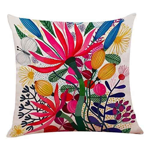 Dekor Kissenbezug (Epigeon Boho Floral Blume Blatt Baumwolle Leinen Platz Dekorative Vintage Dekokissen Fall Sofa Taille Hause Shop Couch Bett Dekor Kissenbezug)