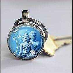 Llavero Vintage llavero de buda, diseño de Buda Art colgante clave cadena llavero, diseño de, hecho a mano, Vintage joyas, joyas de moda para las mujeres o los hombres