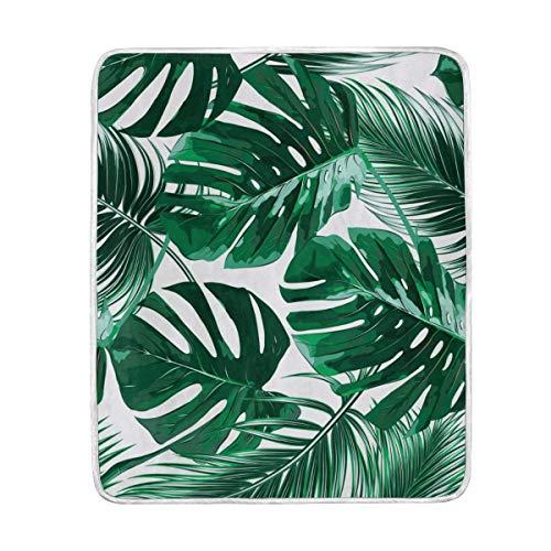 ALAZA Tropical Grün Palm Blätter Übergroße Überwurf Decken für Polyester-Couch Sofa-König Queen Size Betten Home Decor Zimmer Betten Steppdecke für Sofa, Polyester, Multi, 50x60 -