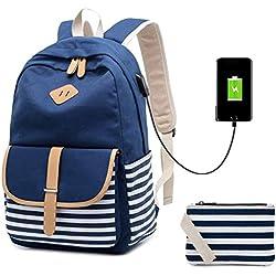 Netchain Mochila Escolares Mujer Mochila de Lona Canvas Backpack Laptop Mochila para Ordenador Portátil 15.6 Pulgadas, USB Charging Port Azul