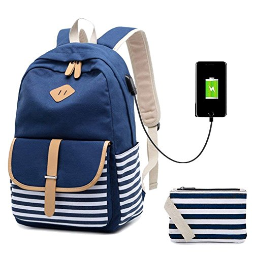 Netchain Donna Zaino Scuola Ragazze tela Zaini tela Canvas Backpack Laptop Zaino Casual Daypacks per 15.6in Laptop, USB Charging Port Blu