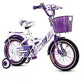 Bicyclehx Kinder Fahrrad 12/14/16/18 Zoll Kinderwagen 2-13 Jahre Alt Baby Boy Girl Pedal Fahrrad Einstellbar Kreativität Legierung Kind Fahrrad (Color : Purple, Größe : 18 inch)
