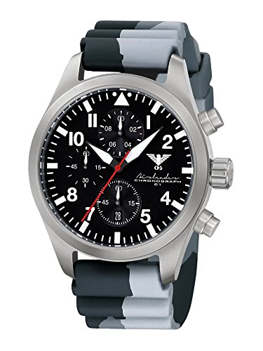 Airleader Steel Chronograph KHS. Airsc DC1 Stainless Steel/Black Diverband Camouflage, Khs Tactical Watch, Wrist Watch, Aviator Watch