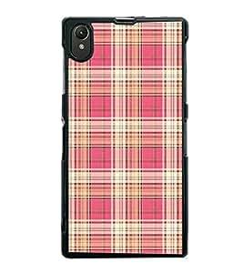 FUSON Sweet Pink Gray Plaid Designer Back Case Cover for Sony Xperia Z1 :: Sony Xperia Z1 L39h :: Sony Xperia Z1 C6902/L39h :: Sony Xperia Z1 C6903 :: Sony Xperia Z1 C6906 :: Sony Xperia Z1 C6943