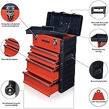 US Pro Tools Postazione di lavoro con armadietto e cassetti scorrevoli per gli attrezzi, con carrello a ruote per il trasporto, in acciaio e plastica, colore: rosso