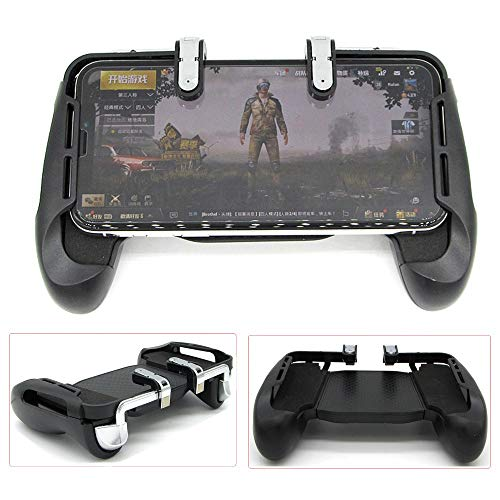 Bescita 1 Paar Mobile Game Controller + Griffhalter Sensitive Schießen und Ziel Tasten Gaming Trigger Fire Button Griff für L1R1 Shooter Controller PUBG Smartphone