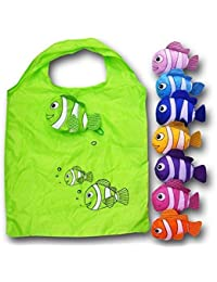 Anseahawk 10pcs Fish Shopping Bags Colorful Foldable Bag Handle Bag Bags Reusable Eco Tote Bags (Rndom Color Sent)