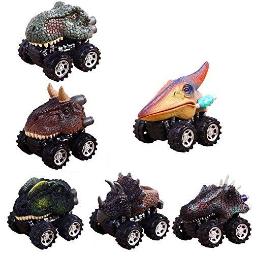 Auto di dinosauro giocattoli, 6 pcs pull back e go mini giocattolo dinosaure automobili macchinine dinosaur dino car toys per bambini infanzia regalo natale compleanno