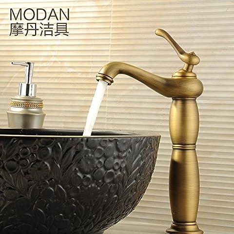 Orgsev Rubinetto di antiquariato unico foro rubinetti miscelatori BasininThe miscelato a caldo e a freddo di lavabi FaucetBathroom