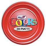 GIRM - S01488 - Piatti piani di plastica Rossi 30 pezzi, piatti monouso per feste, piatti di plastica monouso, piatti piani colorati.