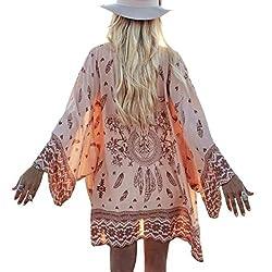 Xinantime Women Boho Printed Chiffon Shawl Kimono Cardigan Tops Loose Cover up Blouse
