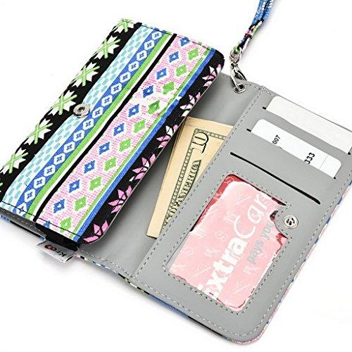 Kroo Téléphone portable Dragonne de transport étui avec porte-cartes compatible avec pour Amazon Fire Phone vert bleu