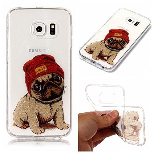 Cozy Hut Samsung Galaxy S6 Edge Hülle, Bling Glänzend Glitzer Klar Durchsichtige TPU Silikon Hülle Handyhülle Tasche Back Cover Schutzhülle für Samsung Galaxy S6 Edge - Hündchen -