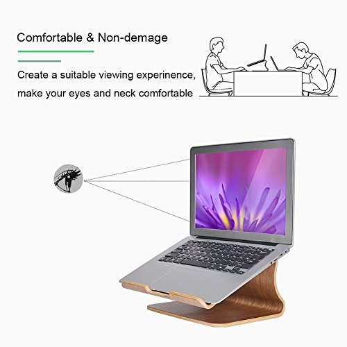 SAMDI Wooden Laptop Stand/Wooden Cooling Stand Holder/Ventilated Laptop Stand Bracket Dock for MacBook Air/Pro Retina Laptop PC Notebook (Black Walnut)