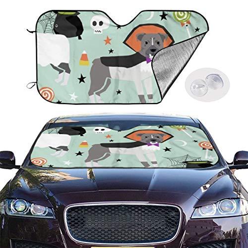 ield Sun Shade Pitbull Halloween Costume Dog Vampire Ghost Mummy Light Keep Your Vehicle Cool UV Sun Heat Reflector 51.2x27.5 Inchs ()