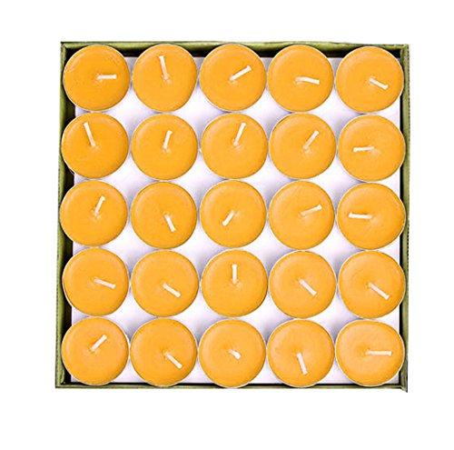 Salome Idea 50Pcs Teelicht Kerzen, Dekorative Kerze für Hochzeit, Geburtstage und Alle Anderen Dekorativen Veranstaltungen Gelb