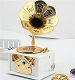 WXFC Gramophone Styling Spieluhr Retro mit Schublade Kunststoff Musikbox Oktav Aufbewahrungsbox, White