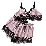 POIUDE Frauen Nachtkleid Größen Spitze Bow Dessous Babydoll Nachtwäsche Slip Rock V-Ausschnitt Lingerie Nachtwäsche Kleid(Rosa, Large)
