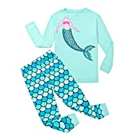 Garsumiss Girls Pajamas Owl Sleepwear Toddler Clothes Cotton Little Kids Pjs (2 Years, Green/Mermaid)