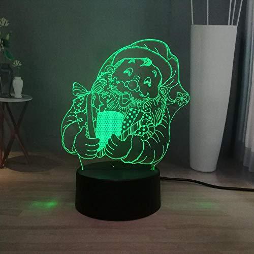 Happy Santa Claus Kopf 3D Nachtlicht, Led 7 Farbwechsel Neuartige Dekoration Atmosphäre Touch Fernbedienung Usb Lade Tischlampe, Kinder Geburtstagsgeschenk Spielzeug -