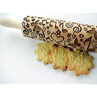 Embossing rolling pin SUMMER TIME. Laser engraved dough roller with SUMMER TIME pattern