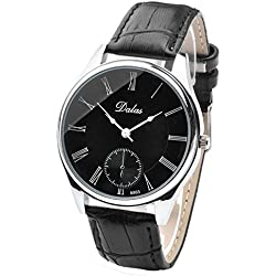 JSDDE Men's Simple Watch with Black Dial Analogue Display and Black Leather Strap
