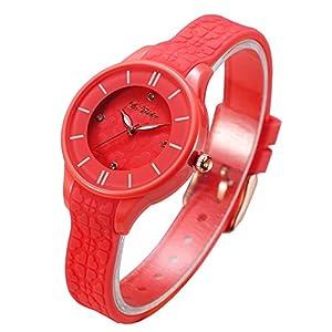 DR8986Frauen-Uhren, Silikon-Band, Kunststoff, Armbanduhr, für Damen, Mädchen, wasserdicht
