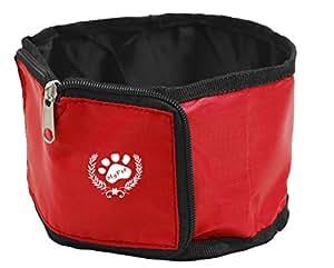 Ciotola di poliestere per il viaggio Scodella per cane animale domestico gatto Ciotola per il bere e il mangiare del cane durante il viaggio di colore rosso Marchio PRECORN