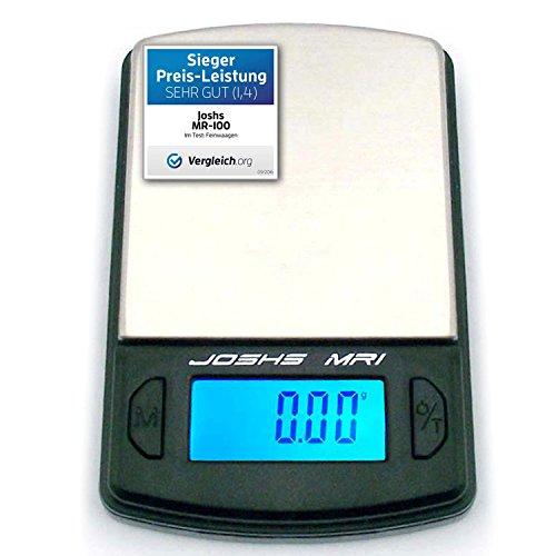 Joshs Digitalwaage Feinwaage die in 0,01 g Schritten präzise bis 100g wiegt, Taschenwaage, Briefwaage, Goldwaage, Tischwaage mit Edelstahl Wiegefläche (Pocket Scale)