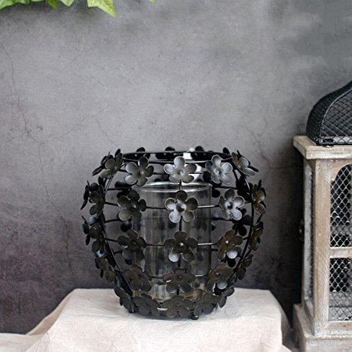 American Vintage Unique Petalo in ferro battuto Candelabro Decorazioni in metallo Artigianato Cortile in giardino Decorazione domestica Candela Lanterna Portacandele vintage