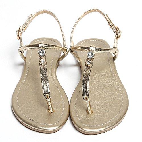 JOJONUNU Femmes Clip Toe Ete Sandales gold