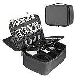 BERTASCHE Kabel Taschen Groß Kabeltasche mit 9,7 Zoll Tabletfach für Reise Arbeit Uni Elektronik Zubehör Tasche, Dunkelgrau