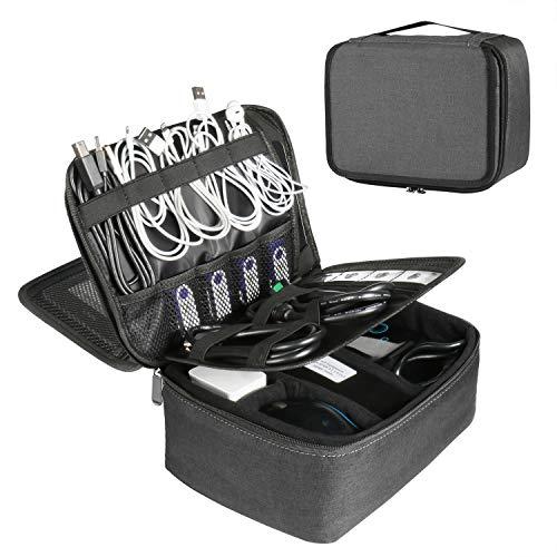 BERTASCHE Kabel Taschen Groß Kabeltasche für Reise Arbeit Uni Elektronik Zubehör Tasche, Dunkelgrau